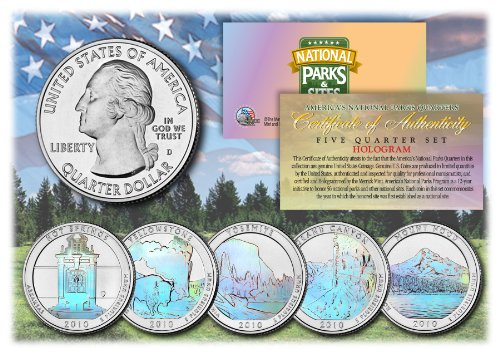 2010 America The Beautiful HOLOGRAM Quarters U.S. Parks 5-Coin Set w/Capsules