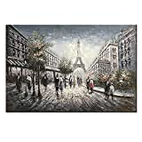 Zoyart Hand Painted Oil Paintings Abstract Wall Deco Art Palette Knife Painting Eiffel Tower Landscape Artwork on Canvas 24x36inch Stretched Convenient to Hang