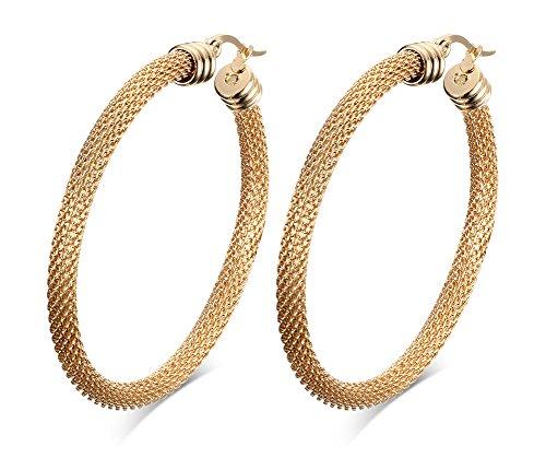 52mm Stainless Steel Gold Mesh Wire Large Hoop Earring for Women, Anti Allergy - Gold Mesh Earrings