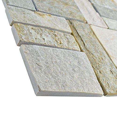 SomerTile SCRPTQA Cliff Patchwork Arizona Quartzite Natural Stone Mosaic Floor and Wall Tile, 12'' x 12'', Grey/Brown/Beige/Orange by SOMERTILE (Image #3)