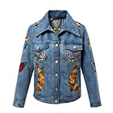 Sicong2 Up-to-Date style Women Autumn Vintage Tiger Embroidered Denim Jacket Lapel Long Sleeve Single-breasted Fashion Basic Coat veste en jean Modern