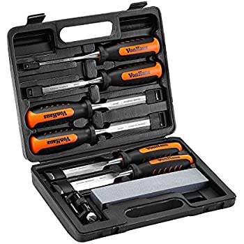 VonHaus 8 pc Craftsman Woodworking Wood Chisel Set for Carving with Honing Guide, Sharpening Stone and Storage Case