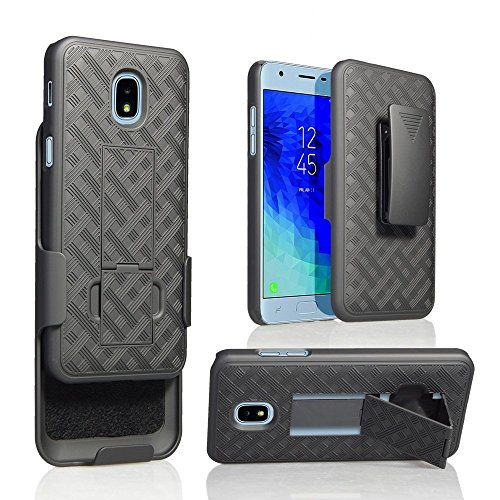 Samsung Galaxy J3 2018, J3V J3 V 3rd Gen,Express Prime 3, J3 Star, J3 Achieve, Amp Prime 3 Case, Belt Clip Case - Slim Fit Holster Shell Combo w/Rubberized Grip (Smooth Black)