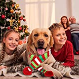 Blulu 2 Pieces Christmas Pet Knit Scarf Dog Winter Striped Scarves Xmas Pet Costume Accessories (XL Size)