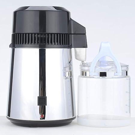 Saiko Destilación de Agua, Purificador Destilador de Agua Interior del acero inoxidable del filtro de agua 4L 800W con Botella de Conexión Recipiente de Vidrio para uso doméstico: Amazon.es: Hogar