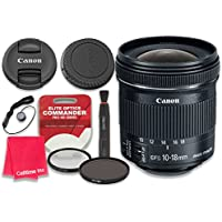 Canon EF-S 10-18mm f/4.5-5.6 IS STM Lens with Elite Optics Commander Pro HD Series Ultra-Violet Protector UV Filter & Circular Polarizer CPL Multi-Coated Filter - International Version