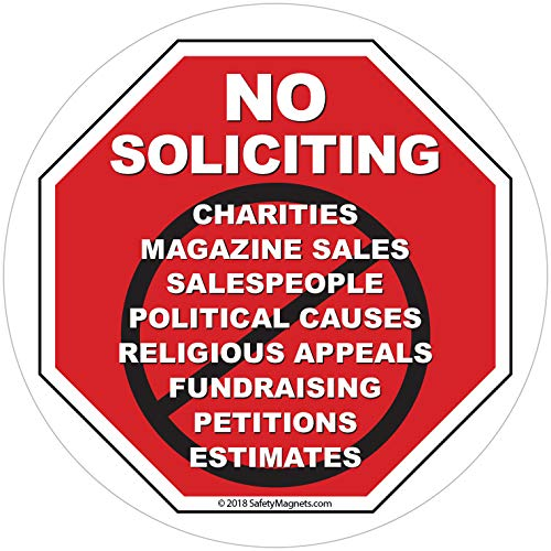 No Soliciting Sign for House - No Solicitation/Solicitors Decal for Home and Business - Static Window or Door Cling