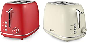 Keenstone Toasters 2 Slice, Stainless Steel Bagel Toaster, Red and Beige