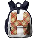 Haixia Students Boys'&Girls' Backpack with Pocket Letter H Old Fashion Cloth with Stitches Checkered Plaid Typography Image Decorative Vermilion Pale Yellow Brown