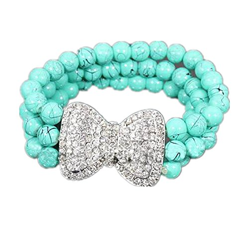 Poem&Future Handmade Alloy Rhinestone Bow Bracelet Girl's Turquoise Elastic Beaded Jewelry (Green)