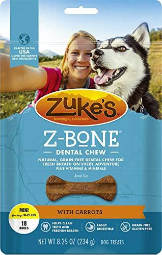 - Zuke's Z-Bones Edible Dental Chews Mini, Carrot Crisp, 18 Count, 4 Pack