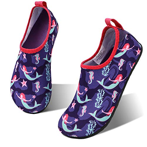 hiitave Girls Swim Water Shoes Non-Slip Quick Dry Barefoot Beach Aqua Pool Socks for Boys Kids Toddler Fushia Pupple/Mermaid 8.5-9 M US Toddler]()