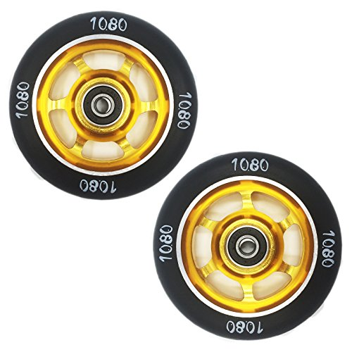 Ten Eighty 100mm 6 Spoke Deep Rim Stunt Scooter Wheels (Pair) - Gold/Black