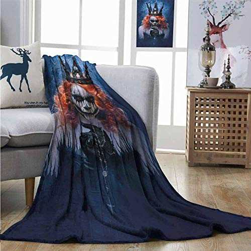 Homrkey Warm Microfiber All Season Blanket Queen Queen of Death Scary Body Art Halloween Evil Face Bizarre Make Up Zombie Plush Throw W40 xL60 Navy Blue Orange Black -
