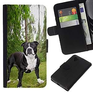 BearCase / Cuero de la tarjeta la carpeta del tirón Smartphone Slots Protección Holder /// LG Nexus 5 D820 D821 /// Boston Terrier French Bulldog Pet