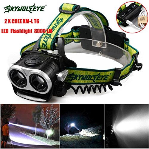 HP95® 8000LM 2X XM-L T6 LED Rechargeable 18650 USB Headlamp Headlight Head Light Torch ()