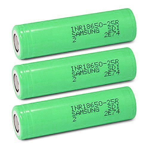 Price comparison product image 3pcs 18650 2500mah 20A Discharge Samsung Cells INR18650-25R li-ion Power Cell Includes 2 GMT Co. Hard Plastic Storage Cases for Easier Storage