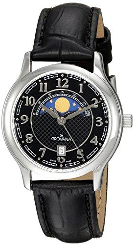 Grovana Unisex 3026-1537 Moonphase Analog Display Swiss Quartz Black Watch