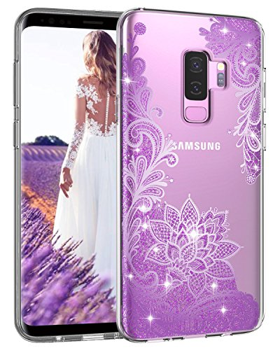 Casetego Compatible Galaxy S9 Plus Case,Clear Glitter Bling Shiny Soft Flexible TPU Case Rubber Silicone Skin with Flowers Floral IMD Printed Back Cover for Samsung Galaxy S9 Plus-Bling Purple