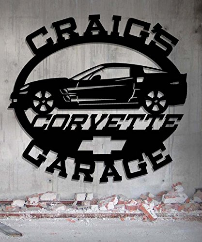 - Corvette Garage - Personalized Metal Sign - Metal Wall Art -Customize It - Metal Wall Art Man Cave Gift Grandpa's Dad's Or Custom Name 23.5 Wide x 22.75 Tall