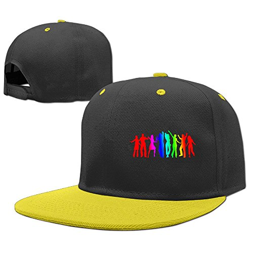 Custom Dance Costumes Makers (Custom Unisex-Adult Dance Together Flat Bill Baseball Hats Yellow)