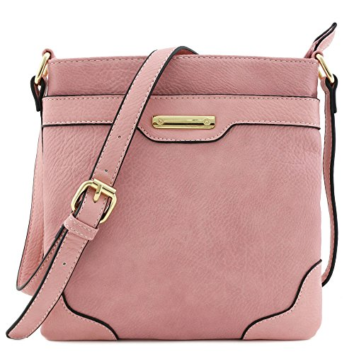Pink Cross Body (Women's Medium Size Solid Modern Classic Crossbody Bag with Gold Plate (Dusty Pink))