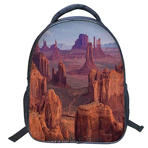 Double Strap Multipurpose Backpack,Polyester Fiber,Large Capacity,3D Backpack for Laptop,16 inch,View of Deep Canyon with Different Scaled Length Red Rocks Discovery Art Theme