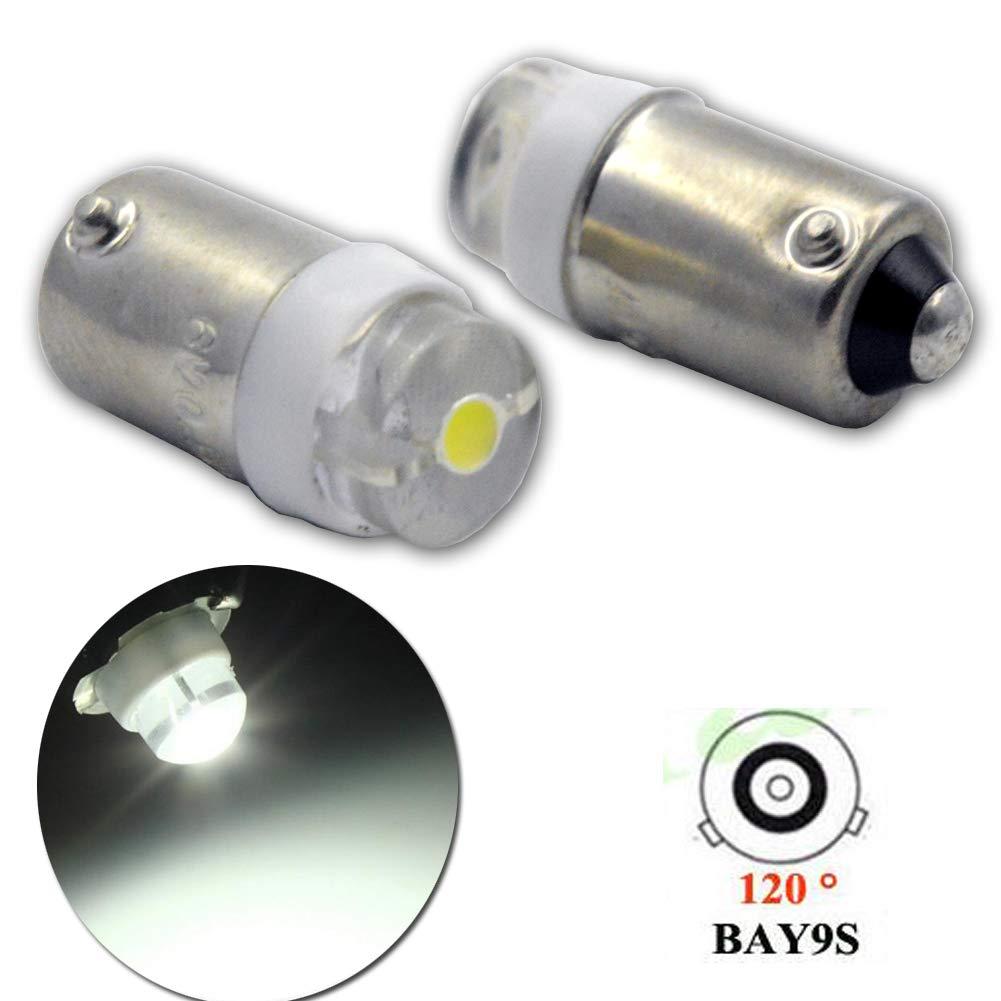 Ruiandsion - 2 bombillas LED BAY9S de 0,5 W CA 6 V COB 1 SMD 6000 K blanco 200 lm LED para coche con luz de estacionamiento, no polaridad: Amazon.es: Coche ...
