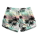 Honeystore Women's Casual Swim Trunks Quick Dry Print Boardshort Beach Shorts Coconut Tree Style B XL