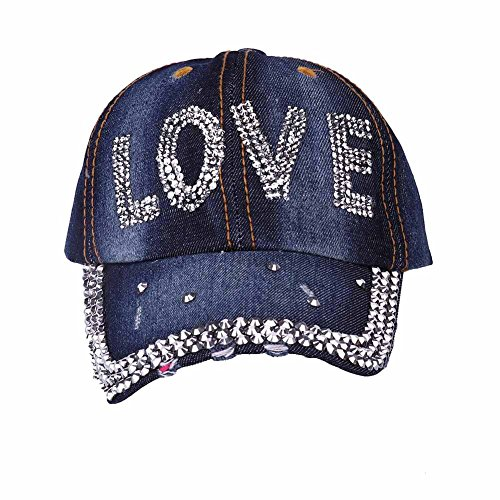Rhinestone Cap - Baseball Hat for Women, Summer Sun Sports Golf Jean Hat, Cotton and Denim Washed Caps, Crystal Bling Rhinestones Pearl Decoration Cap for Lady and Girl (Love - 1)