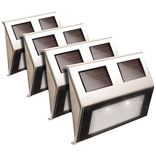 MAXSA(R) INNOVATIONS 47334-SS Solar Deck Lights, 4 pk (Stainless Steel), new by MAXSA(R) INNOVATIONS