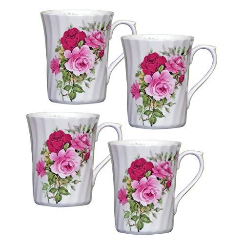 Summertime Rose Fine Bone China Mug - 7oz - Set of 4