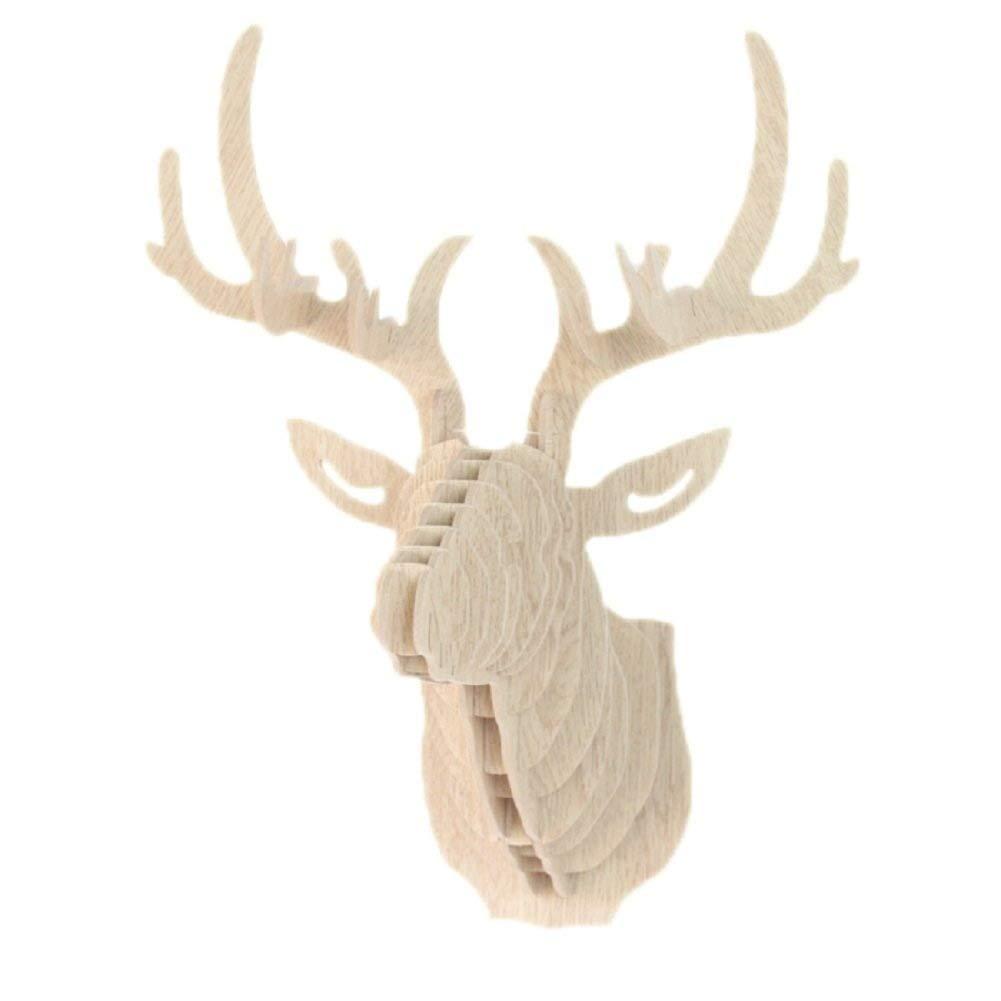 Hangnuo, puzzle in legno in 3D, fai da te, testa di renna artigianale in legno, decorazioni per la casa , Legno, Beige COMINHKPR135939