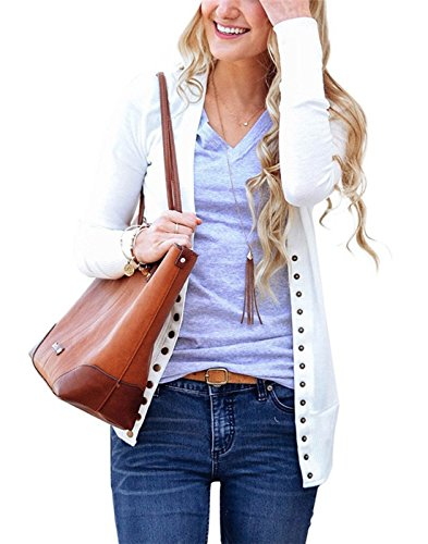 Woman's V-Neck Button Knit Cardigan, Casual Long Sleeve Front Open Sweater (White, L) by Blaunia