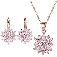 BAMOER 18K Rose Gold Plated Cubic Zirconia Snowflake Lever Back Earrings Necklace Set for Women Girls CZ Jewelry Set