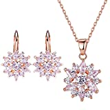 BAMOER 18K Rose Gold Plated Cubic Zirconia Snowflake Lever Back Earrings Necklace Set for Women Girls CZ Jewelry Set Rose-Gold & White CZ