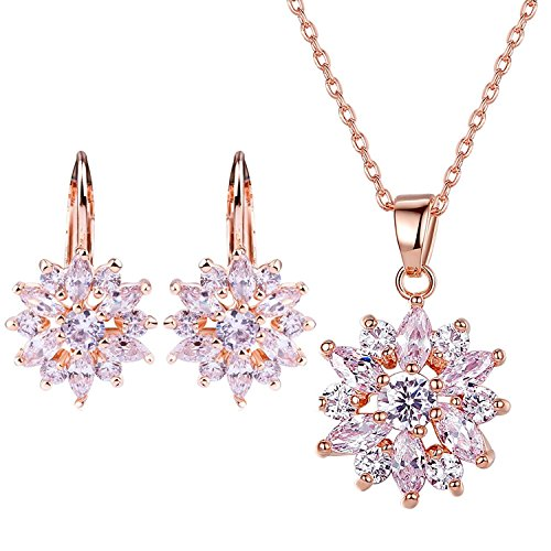 Ring 18k White Gold Jewelry - BAMOER 18K Rose Gold Plated Cubic Zirconia Snowflake Lever Back Earrings Necklace Set for Women Girls CZ jewelry Set Rose-Gold & White CZ