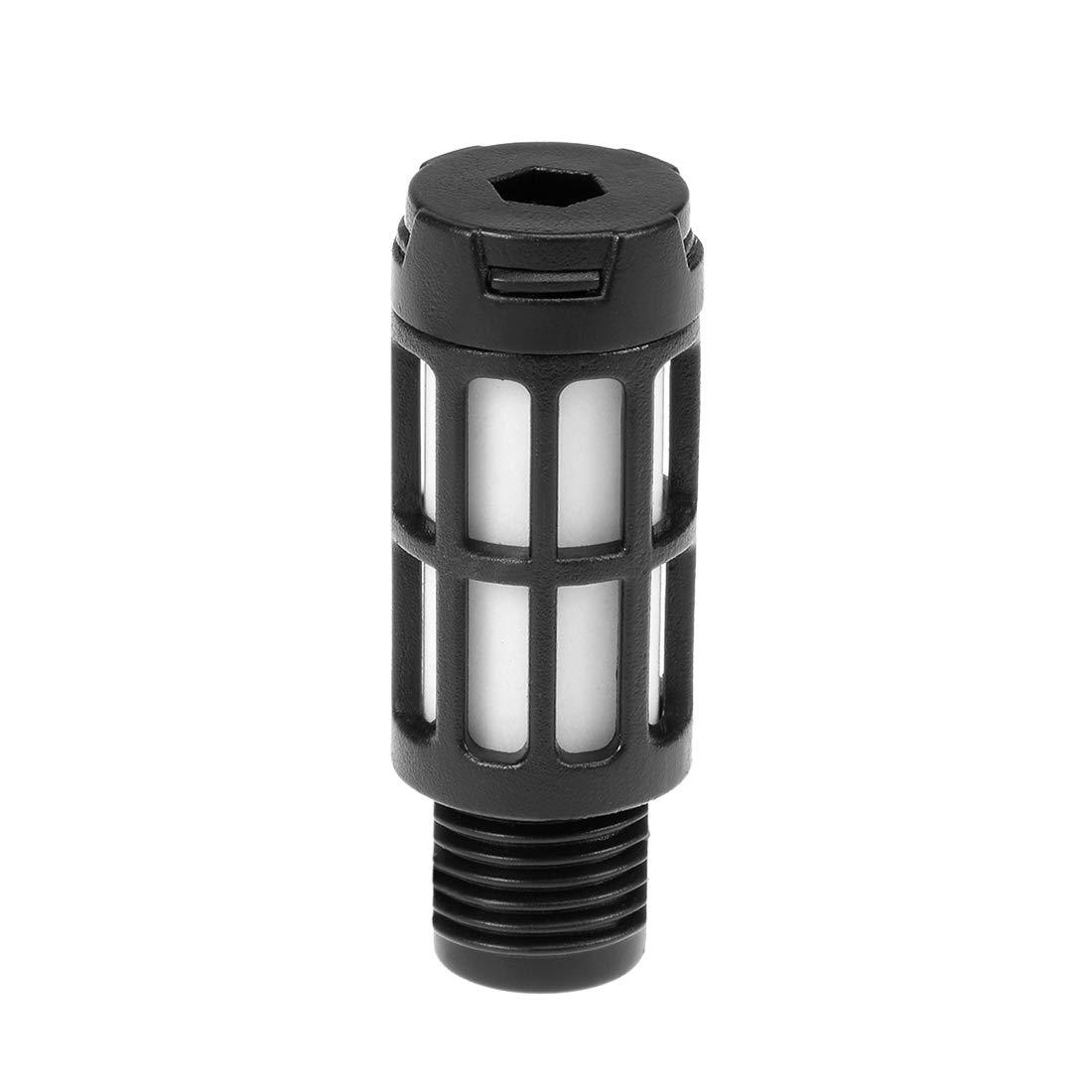 uxcell Plastic Pneumatic Muffler Exhaust Air Line Silencer 1//8 PT Black 30pcs