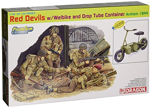 Dragon Models 1/35 Red Devils with Welbike and Drop Tube Container, Arnhem 1944 (4 Figures Set with Bike) - Premium - Kit Edition Premium
