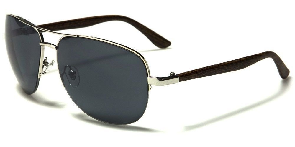 Silver Medium Faux Wood Faux Wood Arms Classic Aviator Men Women Designer Sunglasses