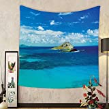 Gzhihine Custom tapestry Hawaiian Decorations Tapestry Manana Island Hawaii Cloudy Summer Sky Tropical Climate Beach Theme Picture Bedroom Living Room Dorm Decor Blue Turquoise