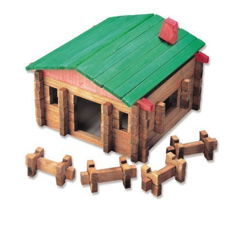 Classic LOG Cabin Playset in Canister 140 Pcs #20001 by Roy Toy Manufacturing made in Maine