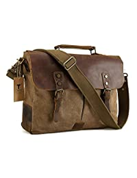 TIDING Men Canvas Leather Cross body Bag Hobo 15.6'' Messenger Laptop Bag