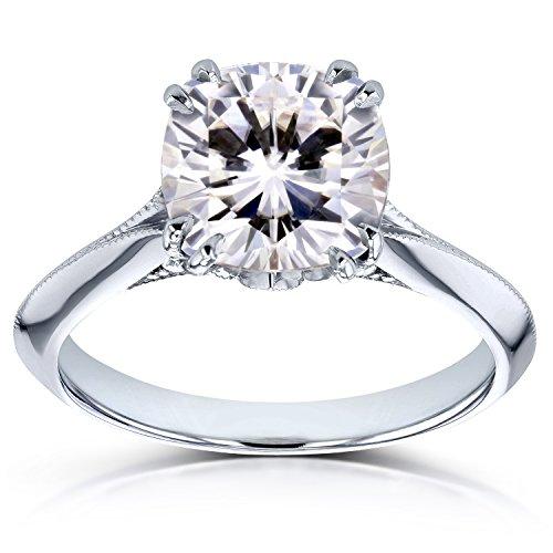 Moissanite (FG) and Diamond Engagement Ring 2 7/8ct TCW in 14k White Gold, 5 from Kobelli