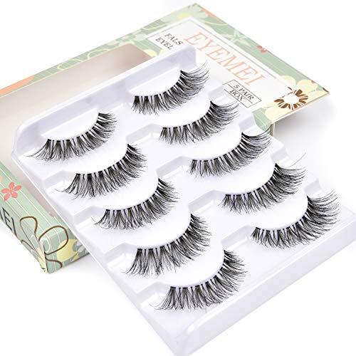 5 pairs 3D False Eyelashes Messy Cross Thick Natural Fake Eye Lashes Professional Makeup Tips Short False Eye Lashes by EYEMEI (Best Short Fake Eyelashes)