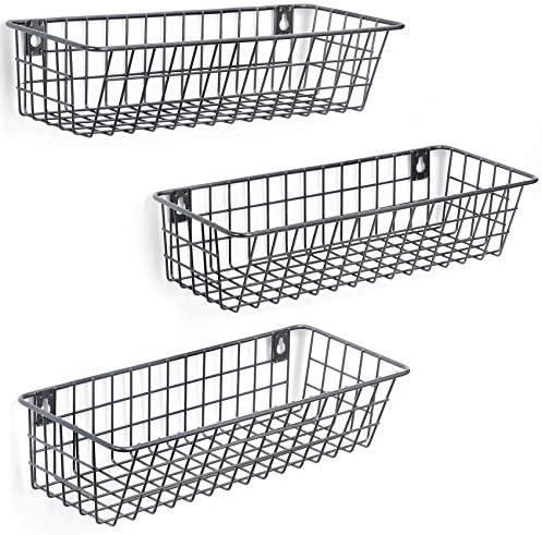 51pEJq6PsGL. AC 3 Set Hanging Wall Basket for Storage, Wall Mount Steel Wire Baskets, Metal Hang Cabinet Bin for Organizer, Rustic Farmhouse Decor, Kitchen Bathroom Accessories Organizer, Industrial Gray, Medium    Product Description
