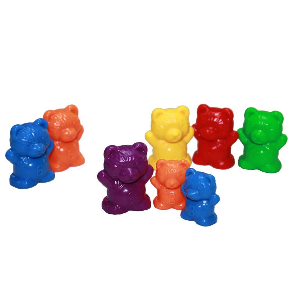 Preschoolfor Enfants en Bas /âge 3G + 6g Weimoli 60PCS Compter Ours Rainbow Set Matching Jeu de Couleurs tri Jouets Stem Jouets /éducatifs pour Les math/ématiques