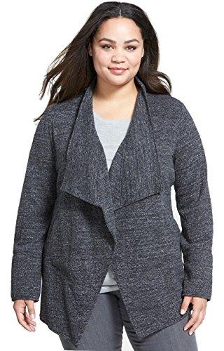 Eileen Fisher Women's Drape Front Cardigan Sweater Jacket, Charcoal, Plus Size 1X