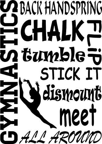 Wall Decal Quote Gymnastics Sports Saying Collage Back Handspring Chalk Flip Tumble Dismount Girl Olympics Wall Decal