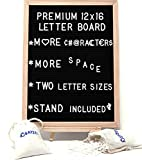 Large Letter Board with Stand – 550 Changeable White Plastic Letters (Big and Small Sizes) – Letter Holder Bags – 12 x 16 Inch Wooden Frame, Black Felt, Wall Mount Hook – Ideal Sign, Bulletin, Marquee